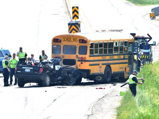 An accident involving an SUV and a school bus on I-94