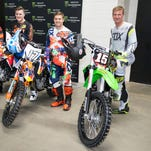 From left to right, drivers Greg Biffle, Ty Dillon, Ricky Stenhouse, Jr. and Clint Bowyer competed in the NASCAR Holeshot Challenge prior to the Monster Energy Supercross main event in Atlanta. at Georgia Dome. Saturday, Feb. 27, 2016 in Atlanta. (Feld Entertainment)