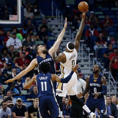 New Orleans Pelicans forward DeMarcus Cousins (0) shoots