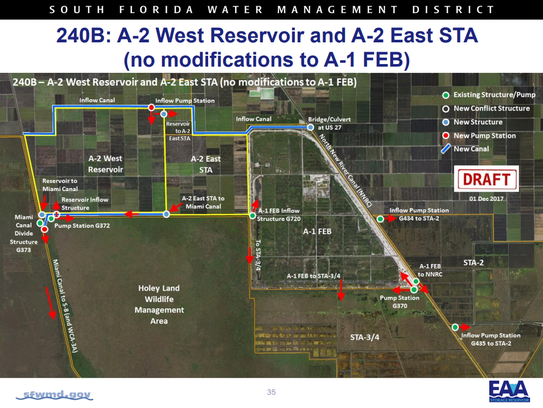 The South Florida Water Management District has developed four preliminary configurations for a proposed reservoir south of Lake Okeechobee to help prevent the damaging discharges from the lake to the St. Lucie and Calooshatchee rivers.