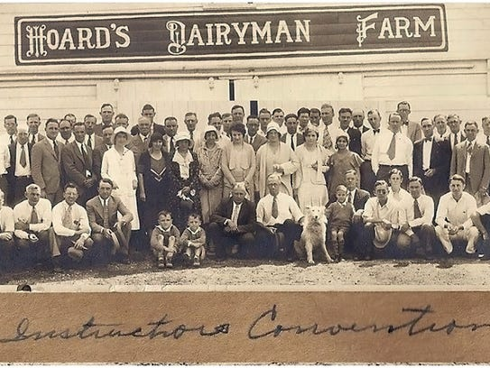 An old photo shows a gathering of vocational agricultural