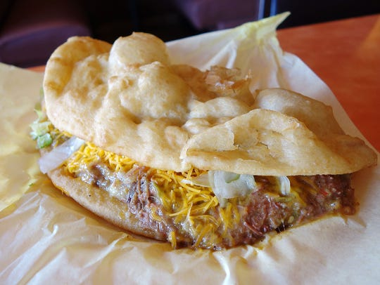 Green Chile Fry Bread Taco ($8.99) at Fry Bread House