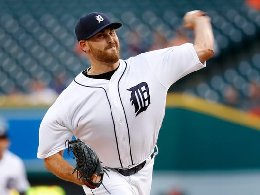 Detroit Tigers pitcher Matt Boyd throws against the Minnesota Twins during the first inning during a baseball game in Detroit, Tuesday, Sept. 13, 2016. (AP Photo/Paul Sancya)