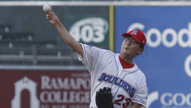 South Korean millionaire pitcher Min Hur  made his minor league debut with the Rockland Boulders against the Newark Bears at Provident Bank Park in Pomona on Sept. 1, 2013.   Hur gave up 3 runs in the first inning and 2 runs in the second inning. ( Ricky Flores / The Journal News )