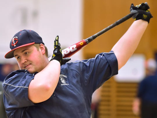 Austin Suders hits the ball during batting drills Monday, March 7, 2016 at Chambersburg Area Senior High School. Monday was the first day of practice for area spring sports.