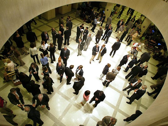 Lobbyists swarm the Capitol during session.
