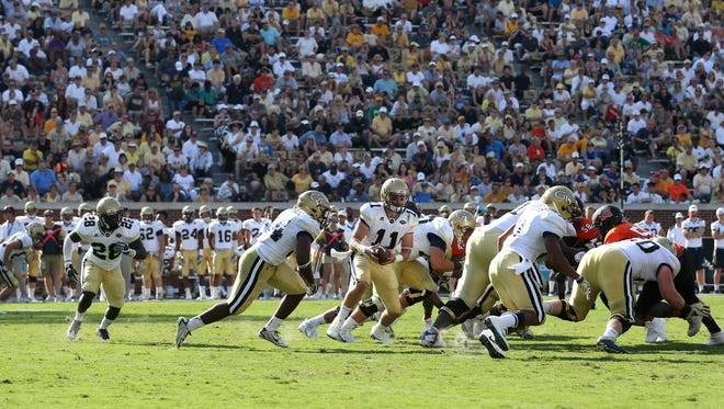 Georgia Tech quarterback Matthew Jordan (11) runs during a play in the third quarter Saturday against Mercer.
