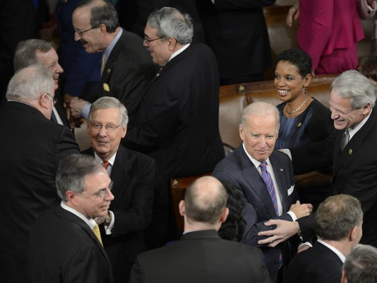 Senate Majority Leader Mitch McConnell, right, and