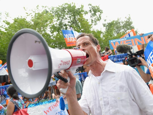 Mayoral candidate Anthony Weiner campaigns at the West