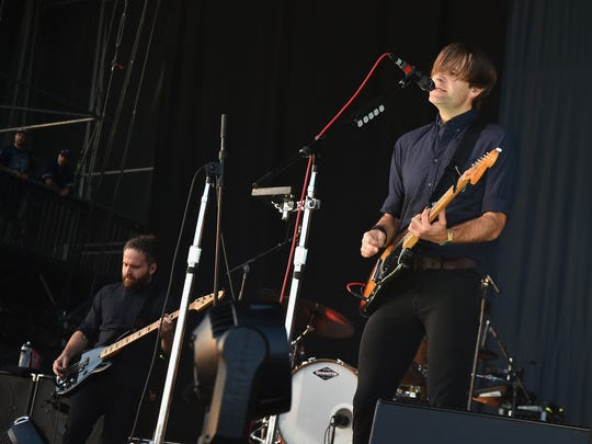 Nick Harmer, left, and Ben Gibbard of Death Cab for Cutie perform at Firefly Music Festival in 2016 in Dover, Delaware.