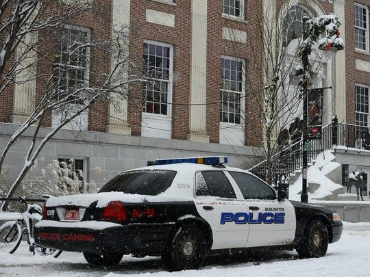 A Burlington Police Department patrol car from the K9 unit is parked in front of City Hall on Church Street on Tuesday, Dec. 12, 2017.