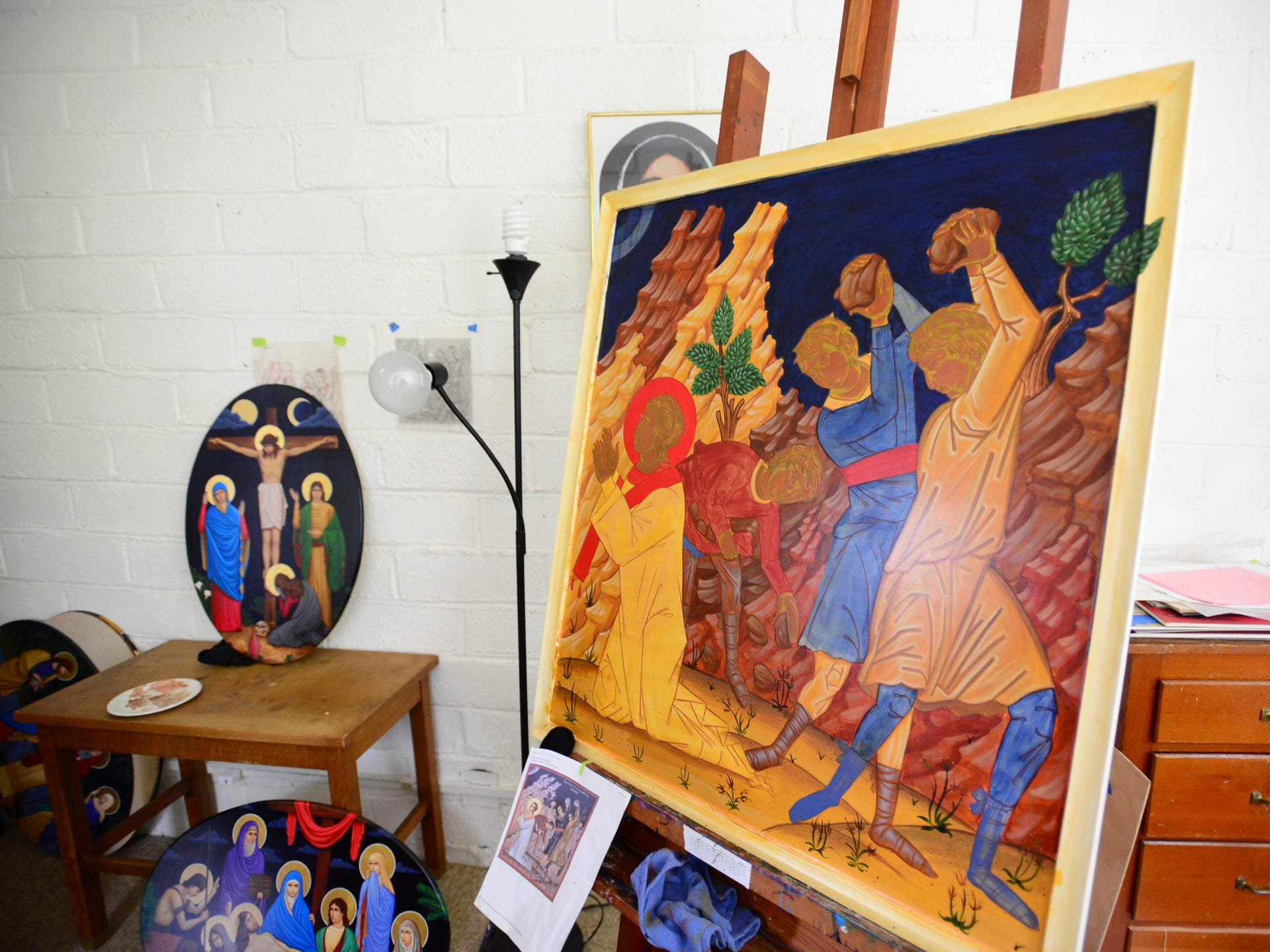 The art studio of Brother Andre Love at the Mount Angel