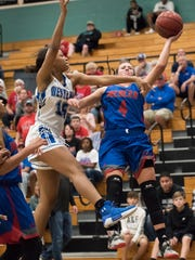 Seygan Robins of Mercer puts up a shot as Simone Left of Westlake defends in the American Division championship game of the Naples Holiday Shootout tournament at Gulf Coast High School on Saturday, Dec. 30, 2017.