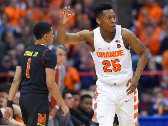 Syracuse Orange guard Tyus Battle (25) reacts to a