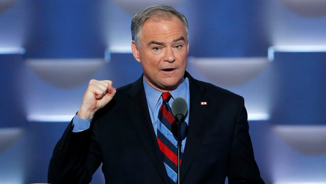 Democratic vice presidential candidate, Sen. Tim Kaine, D-Va., speaks during the third day of the Democratic National Convention in Philadelphia July 27.