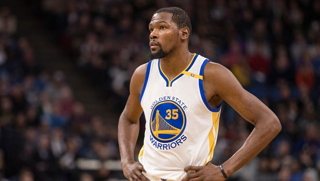 Golden State Warriors forward Kevin Durant (35) isn't happy with the NBA over the Last Two Minute report.