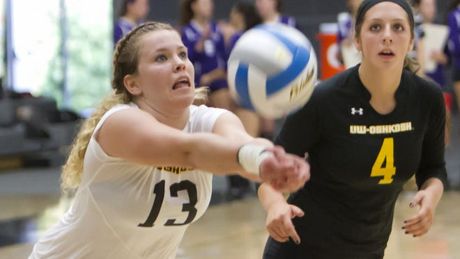 UW-Oshkosh volleyball player Mandy Trautmann (13).