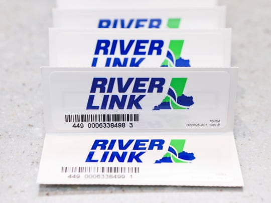 The RiverLink local transponder -- the size of an oil change decal -- is placed inside the front windshield of a car or truck. Drivers with transponders will pay $2 per crossing; those without a transponder are charged $4. The local transponder is free and only works on the Louisville-Southern Indiana Bridges.