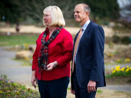 New UT Institute of Agriculture Chancellor Tim Cross, right, and UT Gardens Director Sue Hamilton, left, view where a new pavilion will be built at the UT Gardens on Monday, Feb. 20, 2017.
