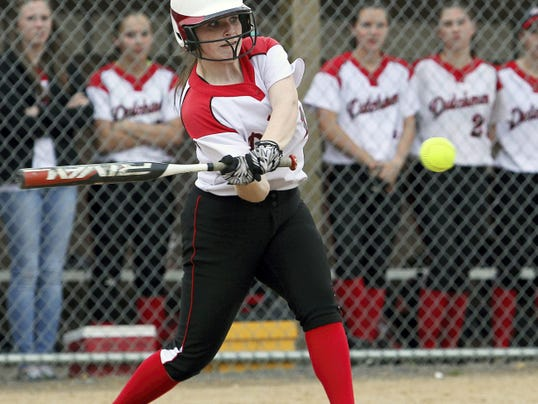 Annville-Cleona's Christy Snyder (16) smacks one of her two singles against Pequea Valley during the 4th inning on Wednesday.