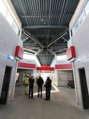 A view from the main entrance of Muskego Lakes Middle School that is on schedule for completion for the beginning of the 2018-19 school year.