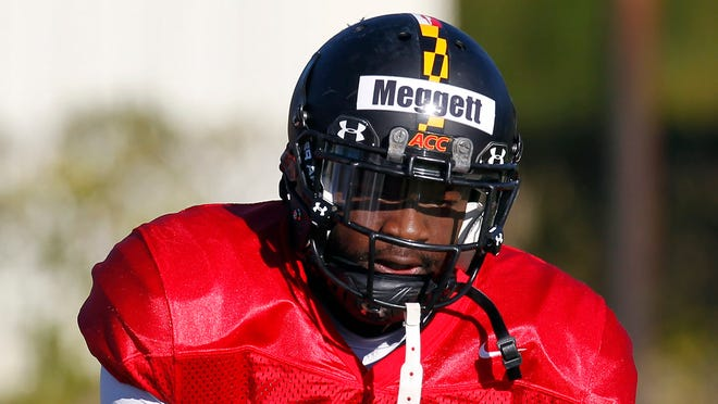 Maryland's Davin Meggett during practice for the East West Shrine NCAA college football Thursday Jan. 19, 2012, in St. Petersburg, Fla.  Maggett signed with the Colts on Sunday.
