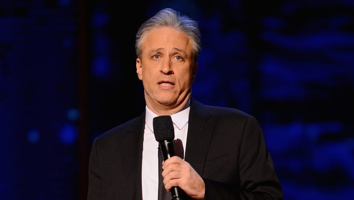 Jon Stewart performs on stage at Comedy Central Night
