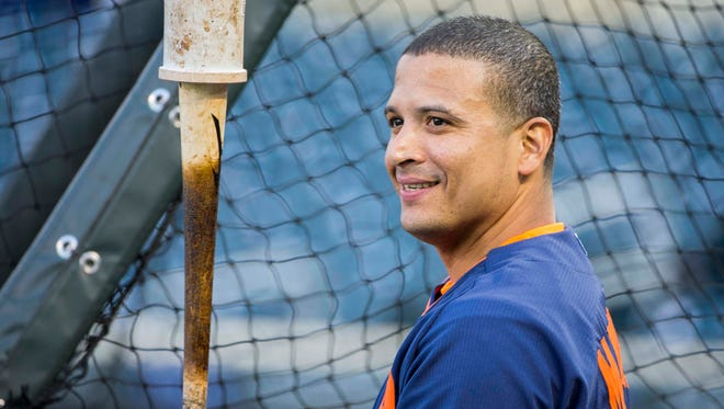 Detroit Tigers designated hitter Victor Martinez looks on during batting practice before a game against the Minnesota Twins on Monday, April 27, 2015, at Target Field.