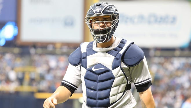 Yankees catcher Gary Sanchez looks on during a game on June 23, 2018,  at Tropicana Field.
