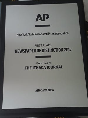 The Ithaca Journal won the 21017 Newspaper of Distinction award in the annual New York Associated Press Association competition on June 2, 2018.