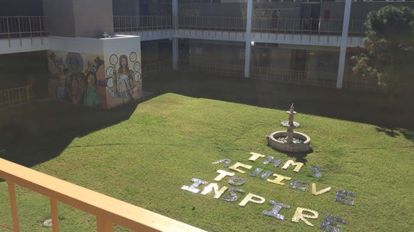 Letters for a yearbook photo sit in the Terrace Hills Middle School courtyard on Oct. 27.