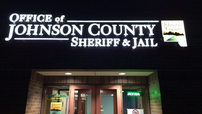 The Johnson County Jail is seen at night during a tour by the Johnson County Citizen's Police Academy.