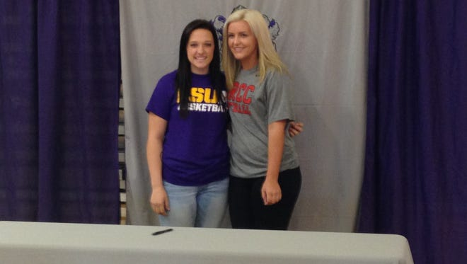 University Academy guard Shy Thompson (left) and pitcher Lauren Rachel signed to colleges Monday. Thompson will play basketball at LSUA, while Rachel with play softball at BRCC.