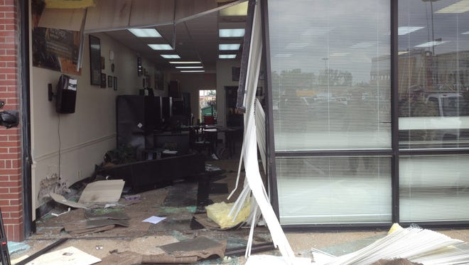 An elderly man crashed his Nissan Altima into the Army Recruiting Office on Louisville Avenue on Wednesday.