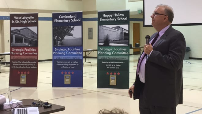 West Lafayette schools Superintendent Rocky Killion presents the district's plans for new construction projects.
