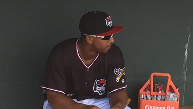 Outfielder Anthony Gose sits on the bench before the Erie SeaWolves' game Monday, July 18, 2016.