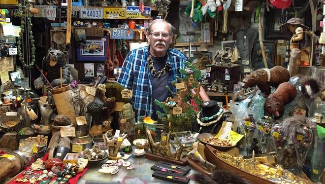 Mike Carpenter, at his roadside trading post.