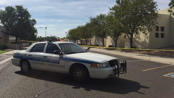 Authorities were investigating a possible explosive device at Scottsdale City Court Sunday morning.