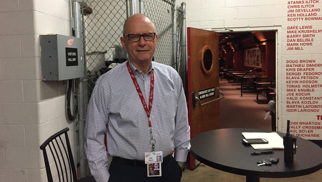 Ken Watters, a retired Ferndale police officer, has worked security for the Red Wings at home and on the road for the past eight seasons.