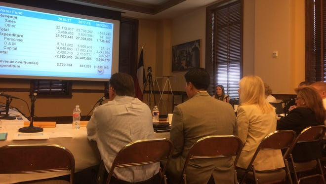 The San Angelo City Council and administration sit through the first of two budget workshops scheduled this month.