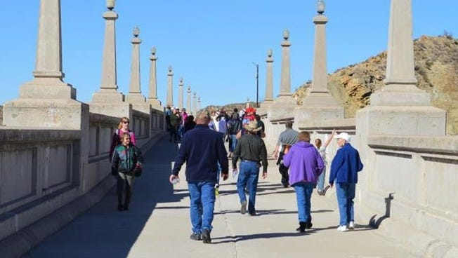 First Day Hike at Elephant Butte Dam.The Dam is open to pedestrians once a year for this event.