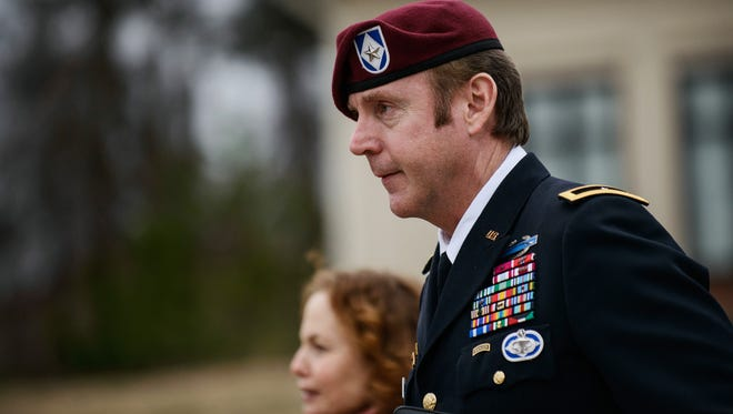 In this March 4 photo, Brig. Gen. Jeffrey Sinclair leaves the courthouse following a day of motions at Fort Bragg, N.C.