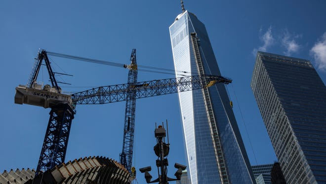Security cameras are positioned outside Ground Zero and One World Trade Center on March 21, 2014, in New York City.