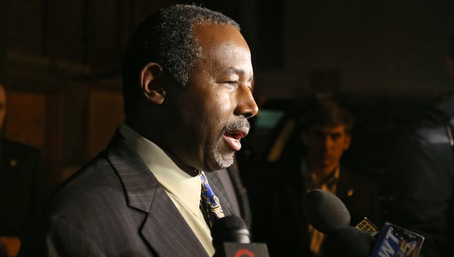 GOP presidential candidate Ben Carson stopped in Cincinnati, Wednesday, Nov. 18, 2015, for a private ballroom event at Cincinnati Music Hall, hosted by the Young Presidents Association. He also addressed the local media outside the Cincinnatian Hotel.