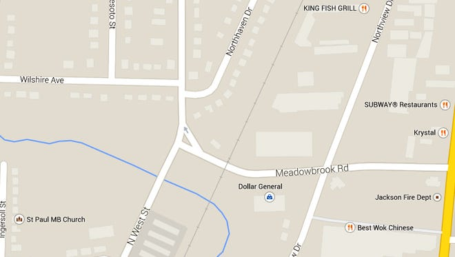 Meadowbrook Road is closed near Northbrook Drive in North Jackson.