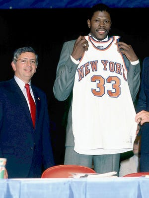 David Stern, left, picked the Knicks to select first in the 1985 NBA draft, where general manager Dave DeBusschere, right, landed Patrick Ewing.