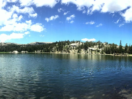 A panoramic photo of Round Lake in the Meiss Country Roadless Area south of Lake Tahoe.