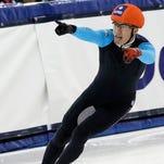 J.R. Celski celebrates after the men's 1,500-meter race at the U.S. Olympic short track speedskating trials in Kearns, Utah, on Jan. 3.