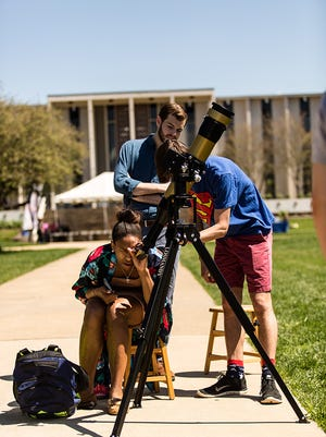 Students do a little solar observing on the campus of University of North Carolina Asheville.