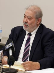 Sheboygan County District Attorney Joe DeCecco makes a point Friday July 29, 2016 during the press conference about the fatal shooting of Kevin Higgins in Sheboygan.